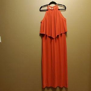 Dress Barn Coral Halter Maxi Dress